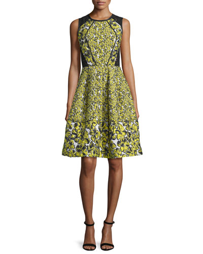 Sleeveless Floral-Print Cocktail Dress, Citron