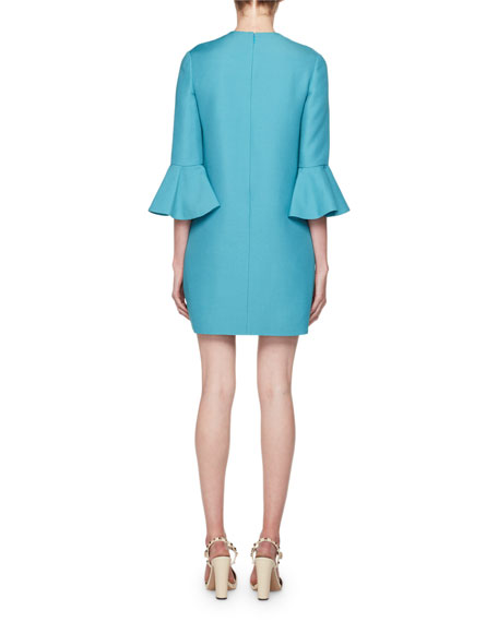 Valentino Crewneck 3/4-Sleeve Straight Crepe Couture Dress
