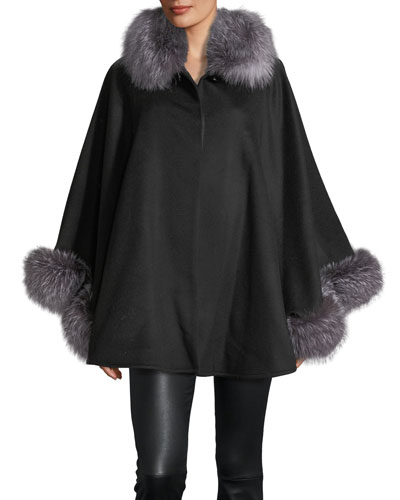 Fur-Trim Wool-Blend Cape