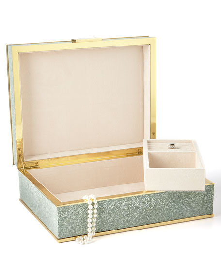 AERIN Large Green Shagreen Jewelry Box