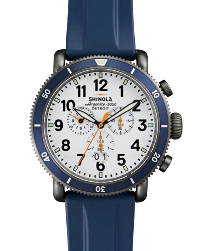 48mm Runwell Sport Chronograph Watch with Rubber Strap, Navy