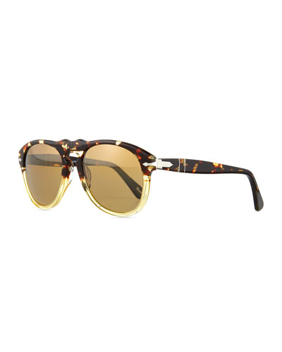 649-Series Acetate Sunglasses, Beige/Tortoise