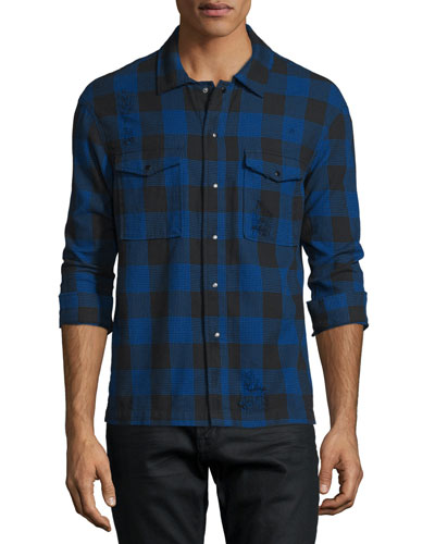 Distressed Buffalo-Check Long-Sleeve Shirt