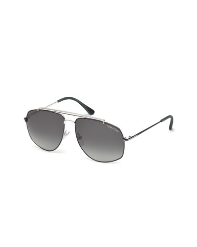Georges Angular Aviator Sunglasses, Silver