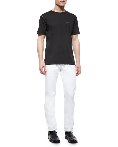 Kyle Garment-Pattern Jersey Tee & White Selvedge Denim Jeans