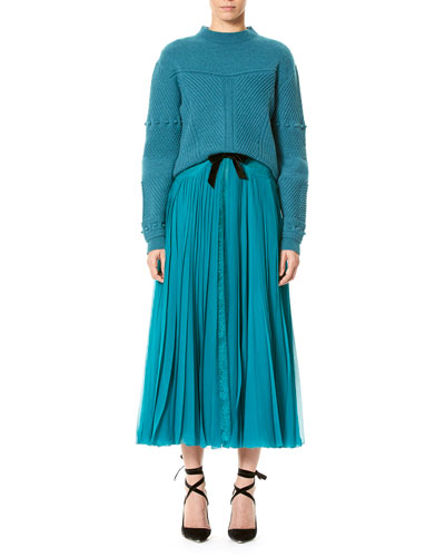 Mixed-Stitch Wool-Cashmere Sweater, Teal and Matching Items