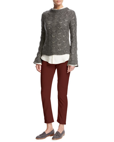 Convent Garden Lace Cashmere-Silk Sweater, Gray and Matching Items