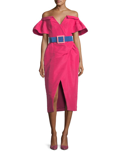 Off-the-Shoulder V-Neck Wrap Dress w/ Contrast Belt and Matching Items