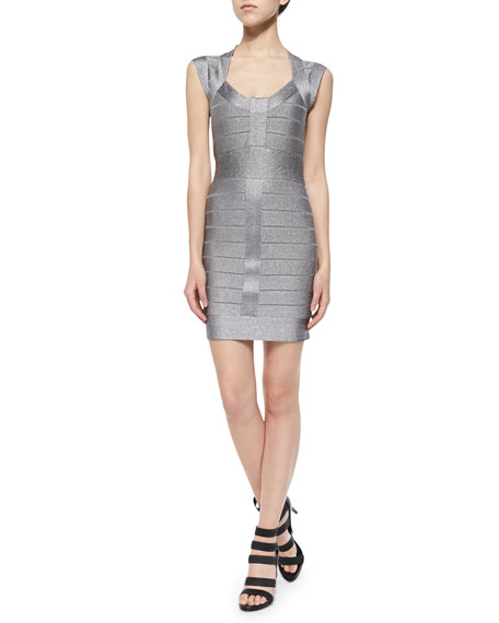 bf9d7073 French Connection Spotlight Cap-Sleeve Metallic Bandage Dress