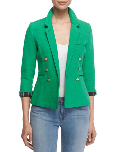Rumpled Crepe Military Blazer, Grass