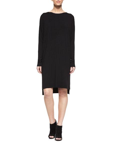 a30454cf8153 Vince Faux-Leather-Trim T-Shirt Dress, Black