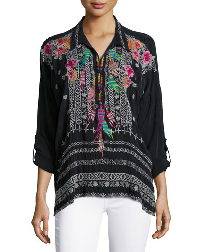 Indie Feather-Embroidered Blouse