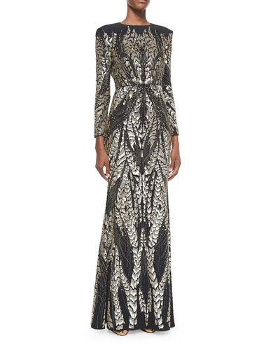 Long-Sleeve Bead-Embroidered Gown