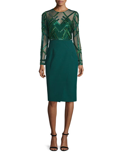 Beaded Long-Sleeve Sheath Dress, Emerald