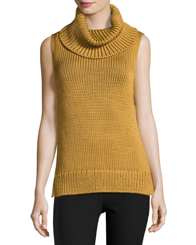 Adele Sleeveless Ribbed Top, Gold