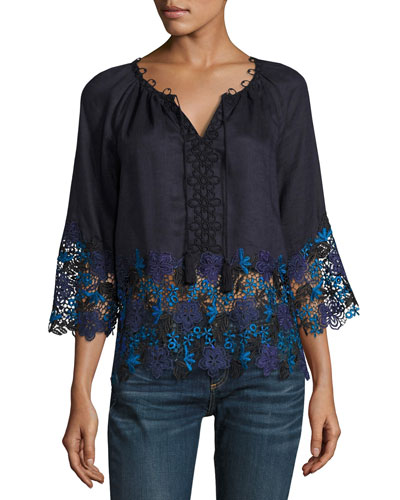 Mariella Linen Blouse w/ Embroidered Lace Trim, Navy
