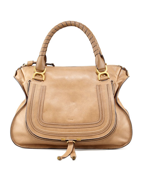 05b2f91e63 Chloe Marcie Large Leather Satchel Bag, Nut