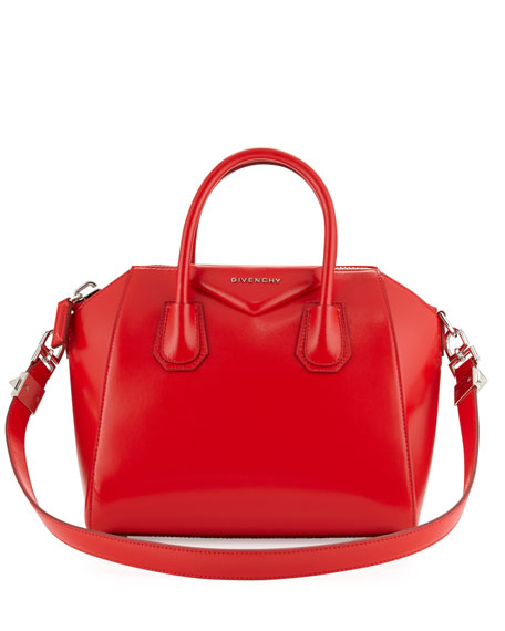 Antigona Small Leather Satchel Bag Red