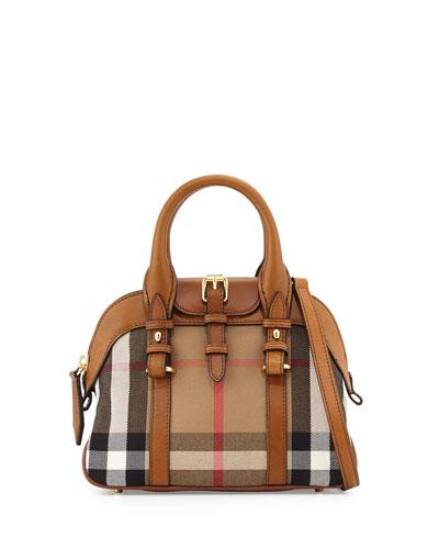 Small Check Zip Satchel Bag, Brown Ochre