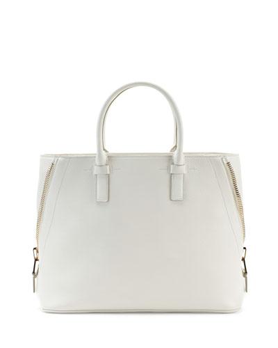 Jennifer Medium Trap Tote Bag, White