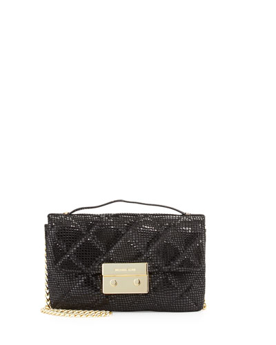 Sloan Small Snake-Print Quilted Messenger Bag