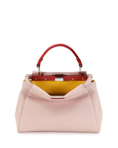 Peekaboo Mini Tricolor Satchel Bag, Light Pink/Yellow/Orange