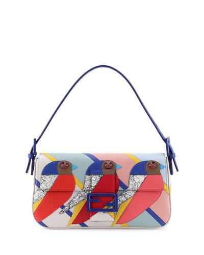 Geometric Bird Baguette Bag, Red/Blue/Pink