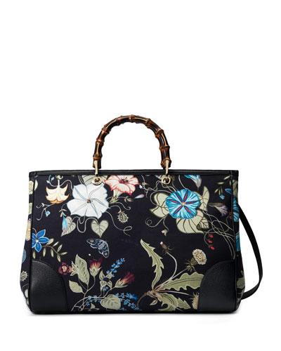 Bamboo Floral Tote Shopper Bag, Black