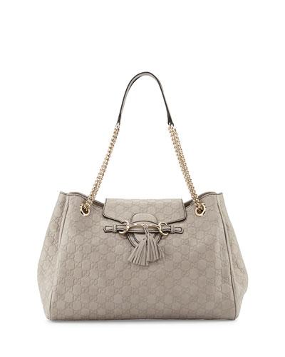 Emily Medium Guccissima Shoulder Bag, Light Grey