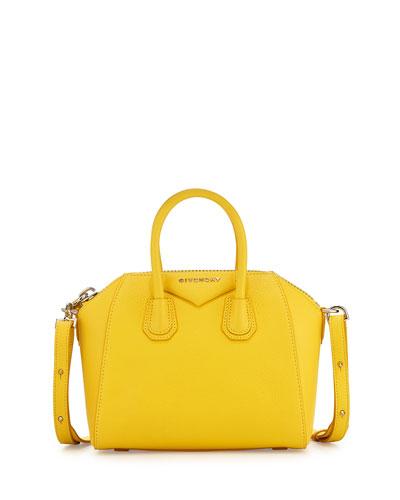 Antigona Mini Leather Satchel Bag, Yellow