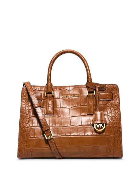 606162e2d MICHAEL Michael Kors Dillon Croc-Embossed Satchel Bag, Walnut