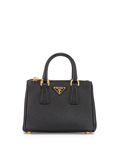 Saffiano Mini Galleria Crossbody Bag, Black (Nero)