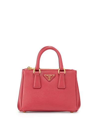 Saffiano Mini Galleria Crossbody Bag, Pink (Peonia)