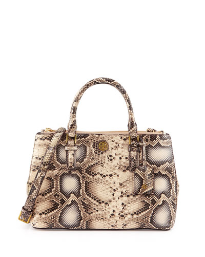 Robinson Mini Snake-Embossed Double-Zip Tote Bag, Natural