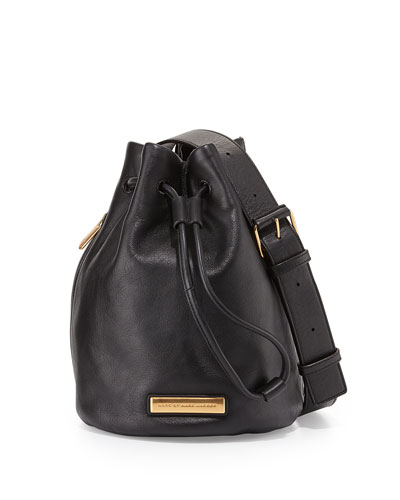 Luna Leather Bucket Bag, Black