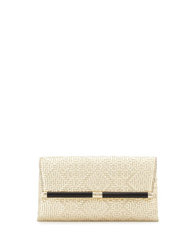440 Metallic Woven Leather Envelope Clutch Bag, Light Gold