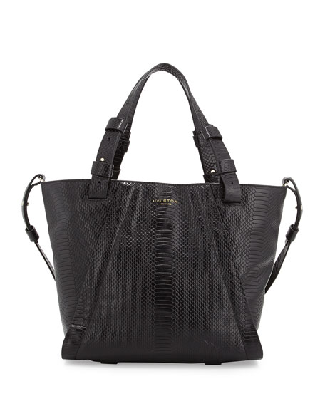 ad078c34e357 Halston Heritage Liza Python-Embossed Leather Tote Bag