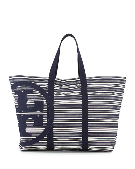 Denim and White Striped Beach Bag Siy4Ac
