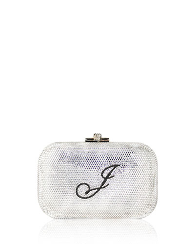Monogram Crystal Slide-Lock Clutch Bag, Silver