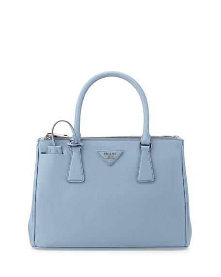 0d981d9f5fa38f Prada Saffiano Lux Double-Zip Tote Bag, Light Blue (Astrale)