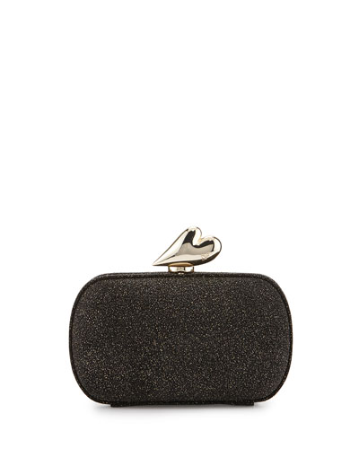Love Glitter Fabric Minaudiere, Black/Gold