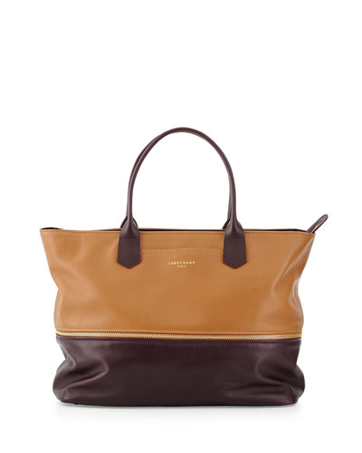 Expandable Colorblock Leather Tote Bag, Natural/Bilberry