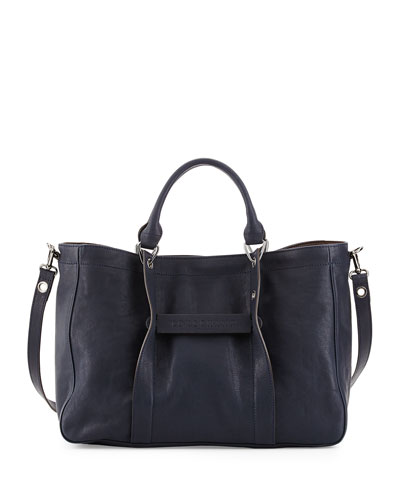Small Leather East-West Tote Bag, Midnight Blue