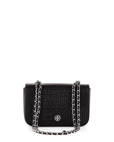 Robinson Woven Shoulder Bag, Black