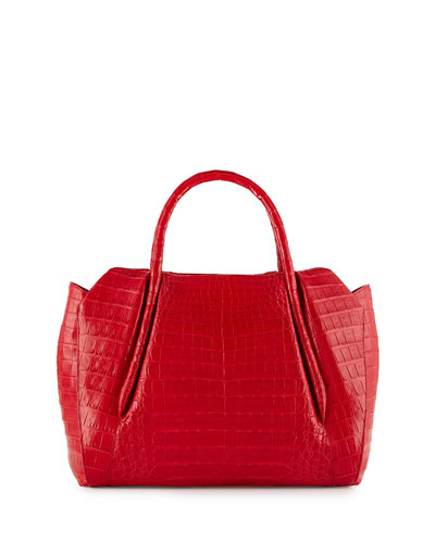 Crocodile Medium Tube-Handle Tote Bag, Red Matte
