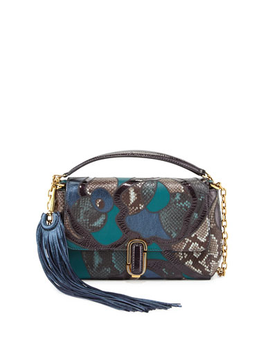 J Marc Snake Patchwork Shoulder Bag, Teal Multi