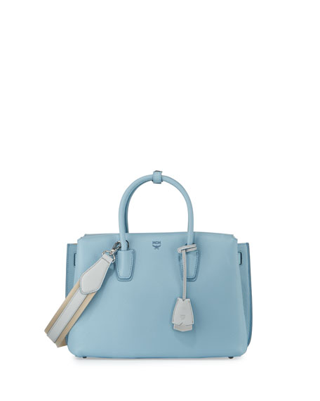 9b190e131 MCM Milla Medium Leather Tote Bag, Sky Blue