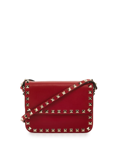 e3a13ccbf8 Valentino Garavani Rockstud Small Flap-Top Crossbody Bag, Red