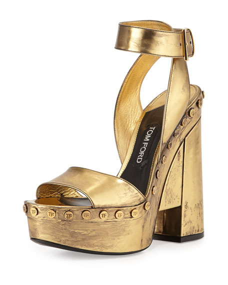 ankle strap sandals - Metallic Tom Ford dqGwgFWoP