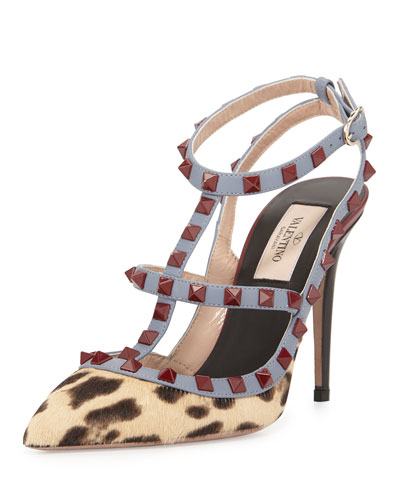 Lacquered Rockstud Calf-Hair Pump, Leopard/Black